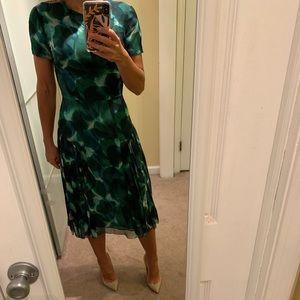 Burberry Prorsum Green Silk printed dress size 40